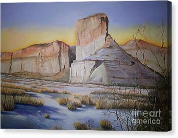 Canvas Print featuring the painting Green River Wyoming by Marlene Book