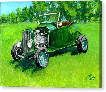 Custom Ford Canvas Print - Green Roadster Hot Rod by David King