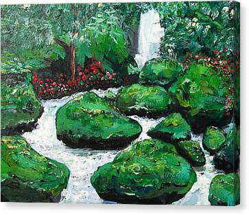 Canvas Print featuring the painting Green Rock Creek by Dan Whittemore