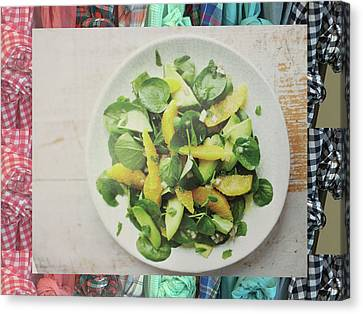 Canvas Print featuring the photograph Green Salad Kitchen Chef Cuisine Christmas Holidays Birthday Festivals Mom Dad Sister Friends by Navin Joshi