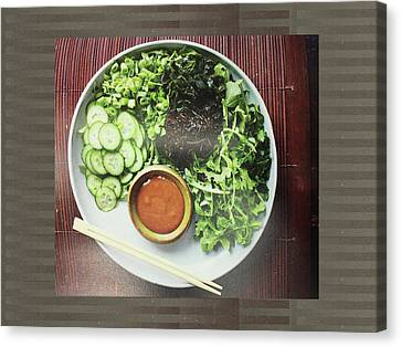 Canvas Print featuring the photograph Green Salad Presentation Chef Cuisine Kitchen Lifestyle Christmas Holidays Birthday Festivals Mom  by Navin Joshi