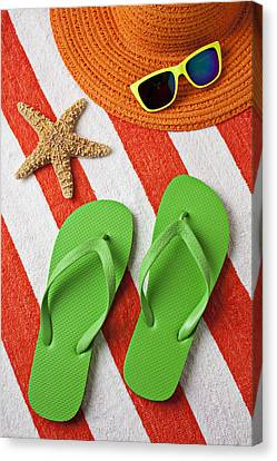 Green Sandals On Beach Towel Canvas Print by Garry Gay