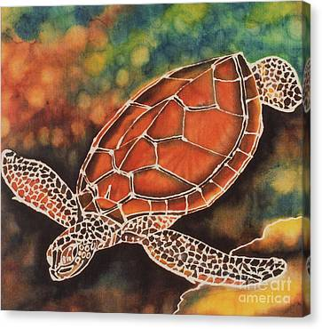 Green Sea Turtle Canvas Print by Jacqueline Phillips-Weatherly