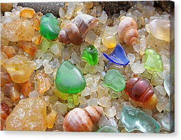 Green Seaglass Art Prints Sea Glass Shells Agates Canvas Print by Baslee Troutman Fine Art Prints