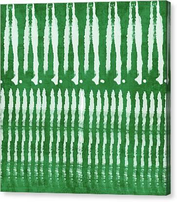 Dye Canvas Print - Green Shibori 1- Art By Linda Woods by Linda Woods