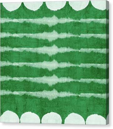 Dye Canvas Print - Green Shibori 3- Art By Linda Woods by Linda Woods