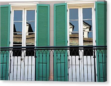 Canvas Print featuring the photograph Green Shutters Reflections by KG Thienemann
