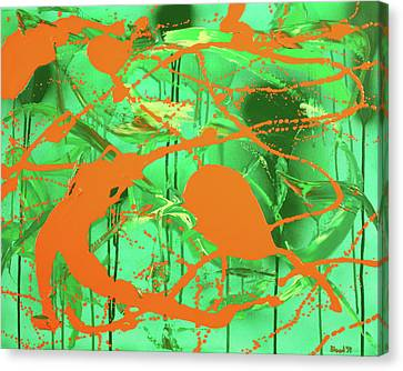 Canvas Print featuring the painting Green Spill by Thomas Blood