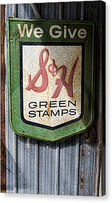 Reward Canvas Print - Green Stamp Sign by Peter Chilelli