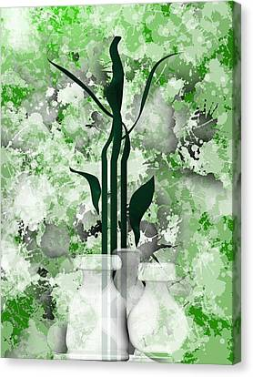 Green Still Life With White Vases Canvas Print by Alberto RuiZ