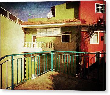 Canvas Print featuring the photograph Green Street Corner, Alcala by Anne Kotan