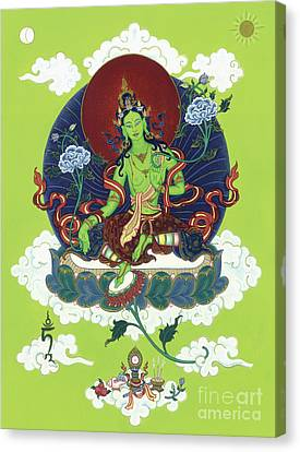 Green Tara Canvas Print by Carmen Mensink