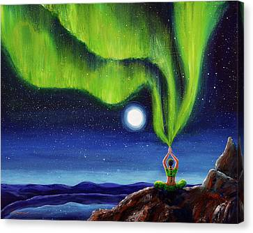 Green Tara Creating The Aurora Borealis Canvas Print by Laura Iverson