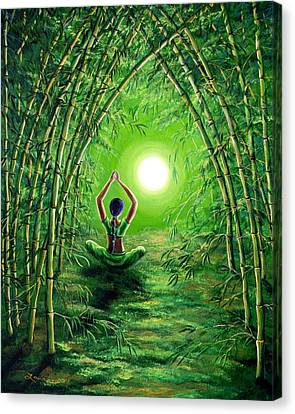 Green Tara In The Hall Of Bamboo Canvas Print by Laura Iverson