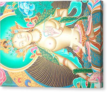 Green Tara Canvas Print by Suresh Tamang