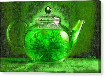 Teapot Canvas Print - Green Tea Pot - Da by Leonardo Digenio