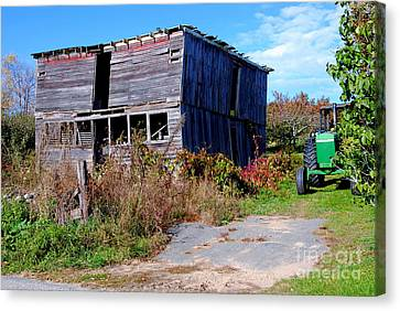 Green Tractor Canvas Print by Andrea Simon