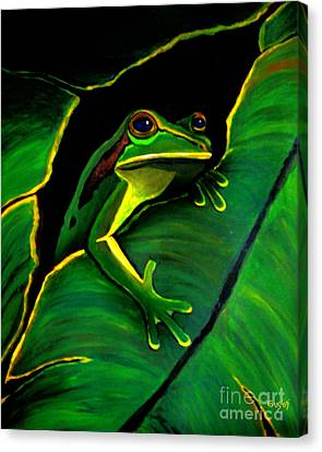 Green Tree Frog And Leaf Canvas Print by Nick Gustafson
