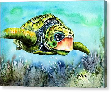 Canvas Print featuring the painting Green Turtle by Maria Barry