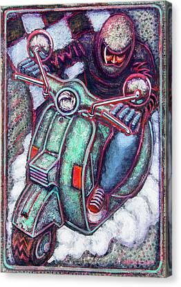 Green Vespa Canvas Print by Mark Jones