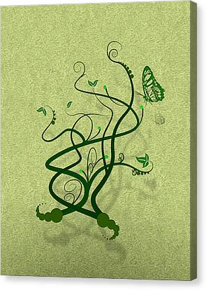 Green Vine And Butterfly Canvas Print