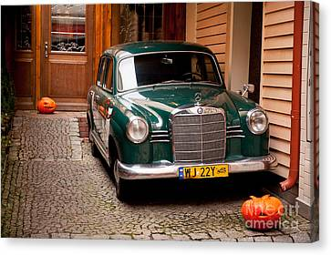 Horror Car Canvas Print - Green Vintage Mercedes Benz Car by Arletta Cwalina
