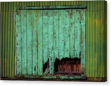 Green Warehouse Door Canvas Print by Garry Gay
