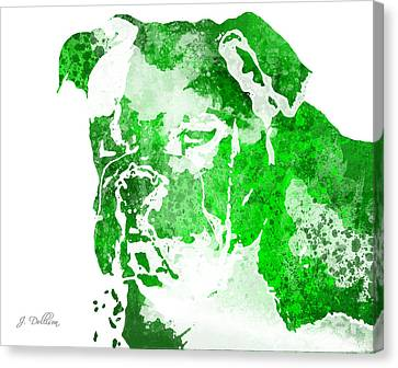 Green Watercolor Bulldog Canvas Print