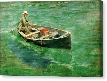 Canvas Print featuring the painting Green Waters by Henry Scott Tuke