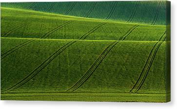 Canvas Print featuring the photograph Green Waves Of Rolling Hills by Jenny Rainbow