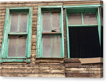 Green Window Frames Canvas Print by Bob Phillips