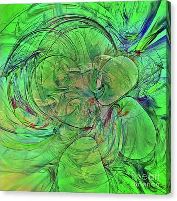 Canvas Print featuring the digital art Green World Abstract by Deborah Benoit
