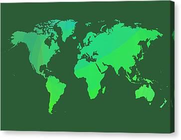 Green World Map Canvas Print