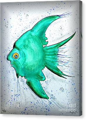 Canvas Print featuring the mixed media Greenfish by Walt Foegelle