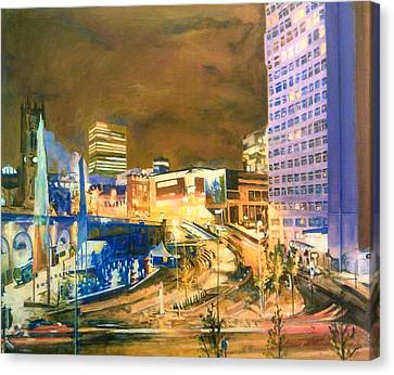 Greengate, Salford, Manchester At Night Canvas Print