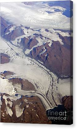 Canvas Print featuring the photograph Greenland From 35 Thousand Feet by Stan and Anne Foster