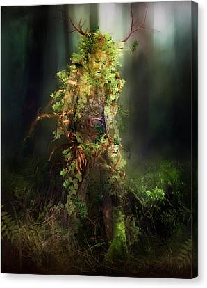 Rooted Canvas Print - Greenman by Mary Hood