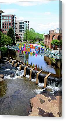 Canvas Print featuring the photograph Greenville River Walk by Corinne Rhode