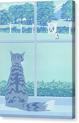 Greeting Card - Cats Staring Canvas Print by Walt Curlee