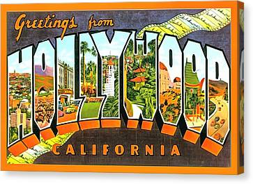 Greetings From Hollywood California Canvas Print by Vintage Collections Cites and States