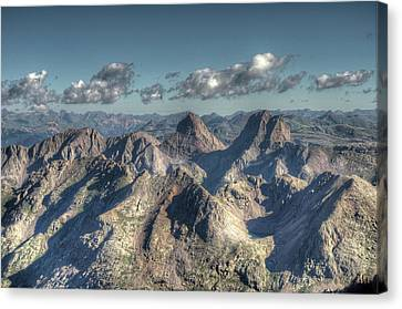 Canvas Print featuring the photograph Grenadier Mountains by Aaron Spong