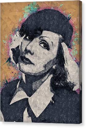 Actress Canvas Print - Greta Garbo Illustration by Studio Grafiikka