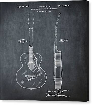Gretsch Guitar 1941 Patent In Chalk Canvas Print by Bill Cannon