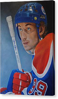 Canvas Print featuring the painting 'gretzky' Wayne Gretzky by David Dunne