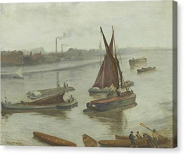 Grey And Silver Old Battersea Reach Canvas Print by James Abbott McNeill Whistler