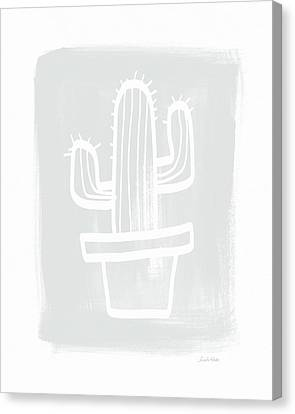 Palm Springs Canvas Print - Grey And White Cactus- Art By Linda Woods by Linda Woods