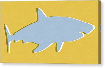 Kid Wall Art Canvas Print - Grey And Yellow Shark by Linda Woods