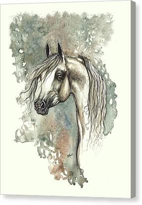 Grey Arabian Horse 2013 11 18 Canvas Print by Angel Tarantella