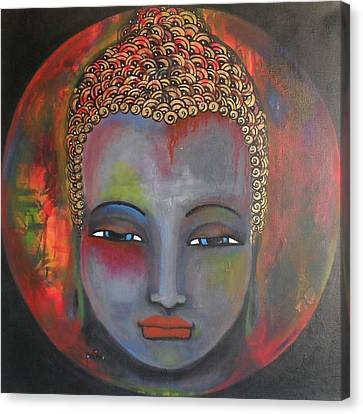 Canvas Print featuring the painting Grey Buddha In A Circular Background by Prerna Poojara