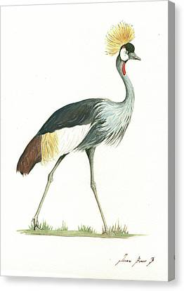 Crane Canvas Print - Grey Crowned Crane by Juan Bosco